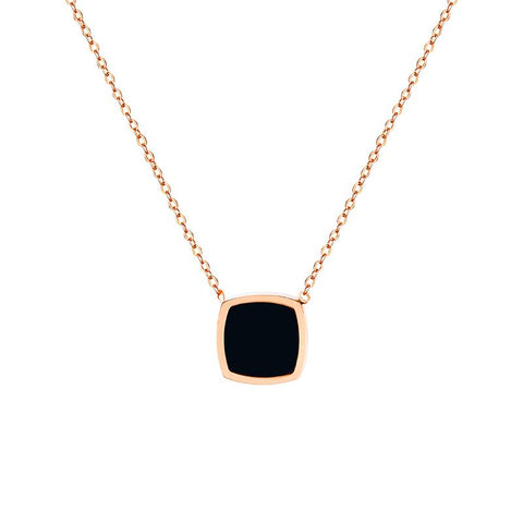 Black Square Pendant Necklace Woman Stainless Steel Jewelry