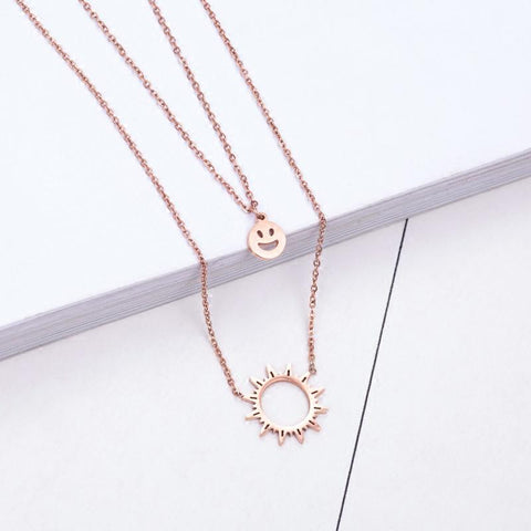 Double Layer Sun Smile Pendant Necklace Stainless Steel High Polish