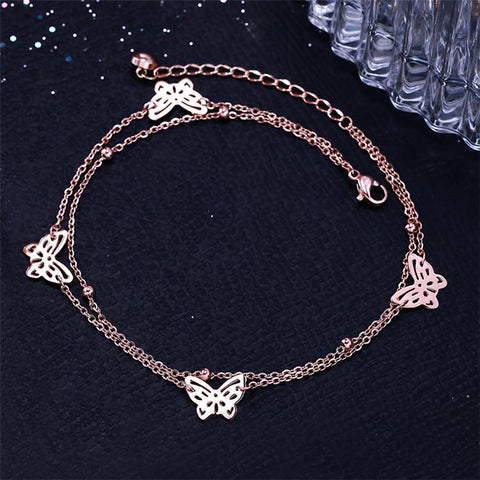 Double Layer Butterfly Necklace Woman Stainless Steel Jewelry High Quality