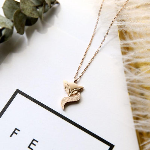 Simple Little Fox Pendant Necklace Woman Stainless Steel Jewelry High Polish