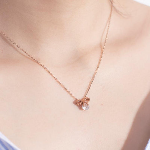 Zircon Bowknot Pendant Necklace Stainless Steel High Polish