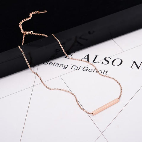 Cuboid Pendant Necklace Simply Choker High Polish Stainless Steel Jewelry