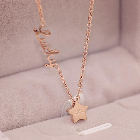 Elegant Lucky Star Pendant Necklace Stainless Steel Bijoux