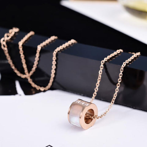 Natural Shell Zircon CZ Inlay Necklace Stainless Steel Jewelry