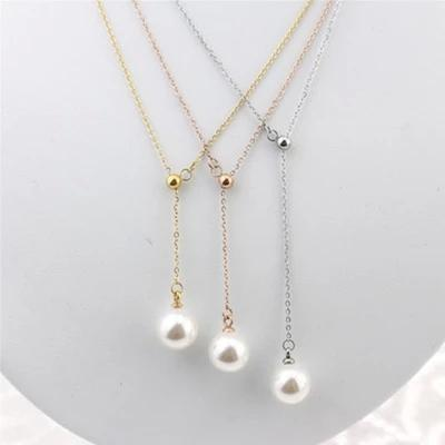 Elegant Pearl Pendant Necklace Adjust Stainless Steel Jewelry