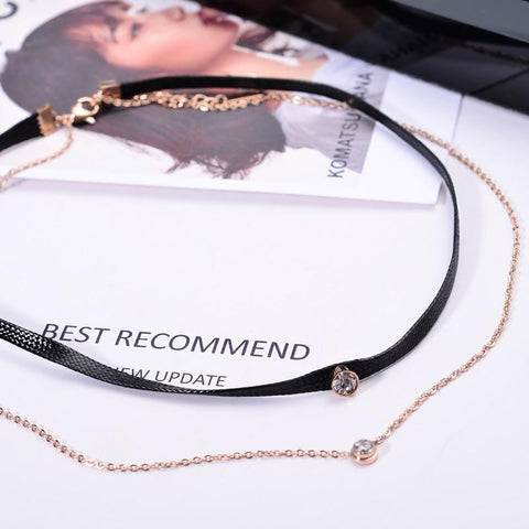 Two Layer Zircona Inlay Choker Necklace Stainless Steel Jewelry