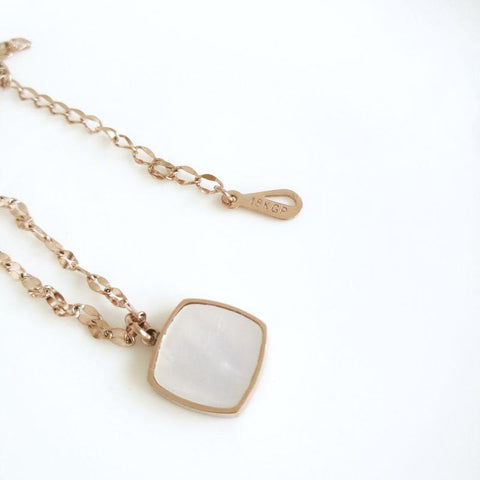 Double Sides Natural Shell Square Pendant Necklace Woman Stainless Steel Jewelry