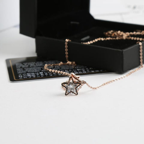 Zircon Star Pendant Necklace Choker Stainless Steel High Polish Never Fade