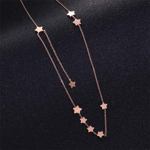 Star Pendant Necklace for Woman Party Stainless Steel Jewelry