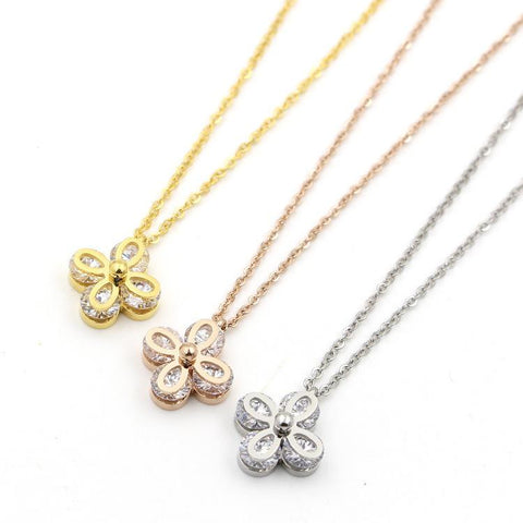 Luxury Zircon Flower Pendant Necklace Woman Stainless Steel Jewelry