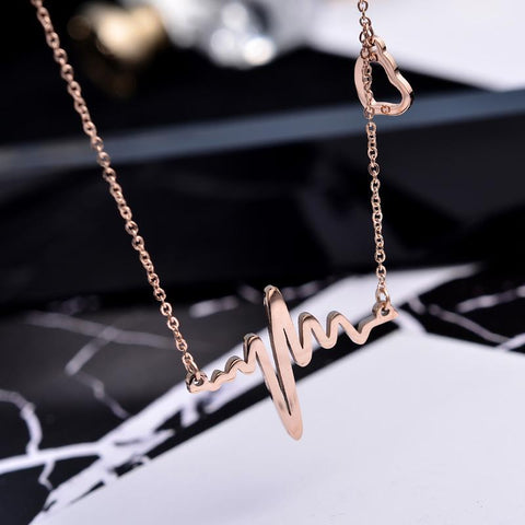 Elegant Heartbeat Pendant Necklace for Woman Stainless Steel Jewelry