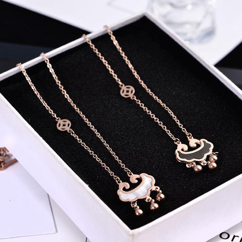Natural Shell Longevity Lock Pendant Necklace for Woman Stainless Steel Jewelry