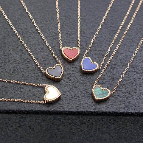 Two-sided Heart Pendant Necklace for Woman Fashion Stainless Steel Jewelry
