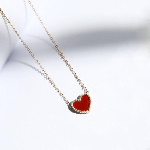 Best Seller Vintage Double-sided Red Black Heart Pendant Necklace Stainless Steel Woman Jewelry High Polish