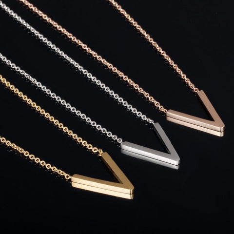 V Shape Pendant Necklace for Woman Girl Fashion Stainless Steel