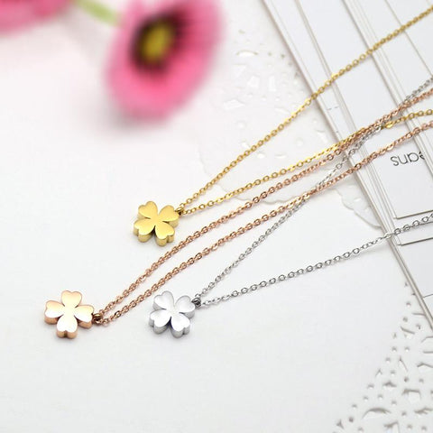 Flower Pendant Necklace Stainless Steel Jewelry High Polish