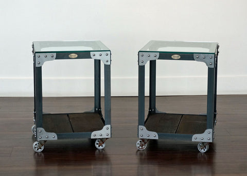 Industrial End Tables on Casters with glass table
