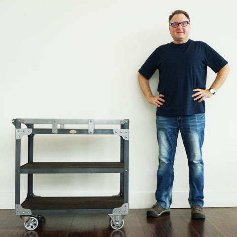 Toronto custom industrial furniture designer with bar cart