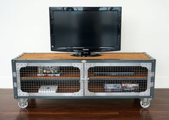 best industrial style metal and wood tv stand online