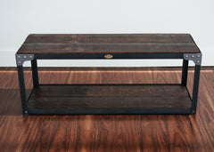 handmade industrial style steel and wood bench