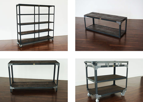 jazz age inspired industrial furniture back bar bar cart console table and bench