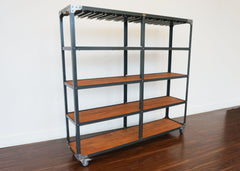 mobile industrial style back bar for hotels and bars