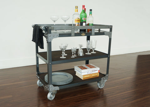 handmade industrial bar cart on wheels online Canada