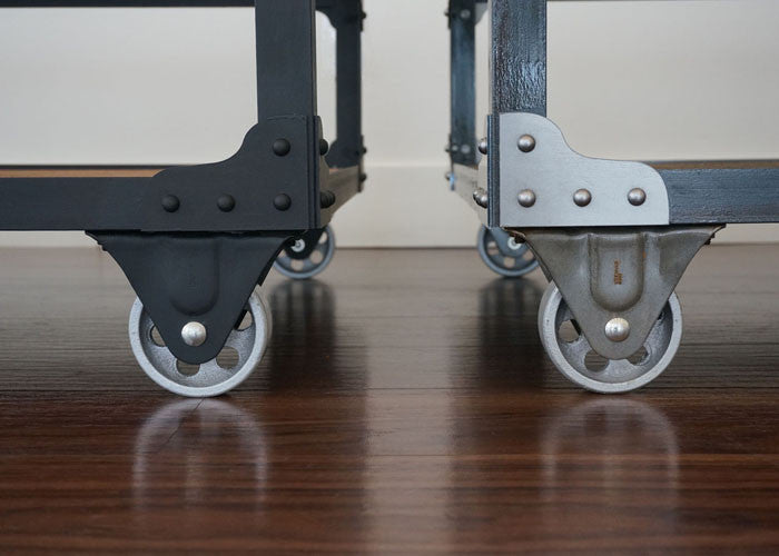 steel and wood coffee table casters