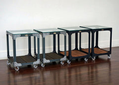 best handmade metal and wood end tables on wheels