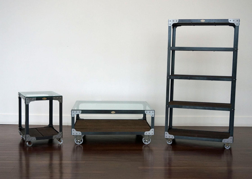 matching industrial bookcase coffee table and end table