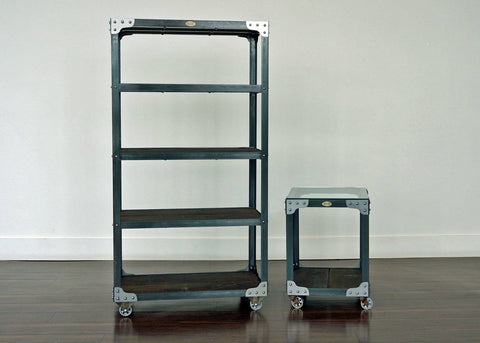 matching industrial bookcase and end table