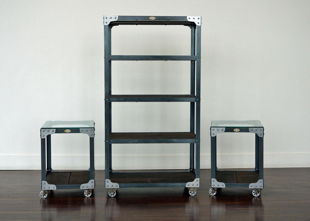 matching industrial bookcase and end table set