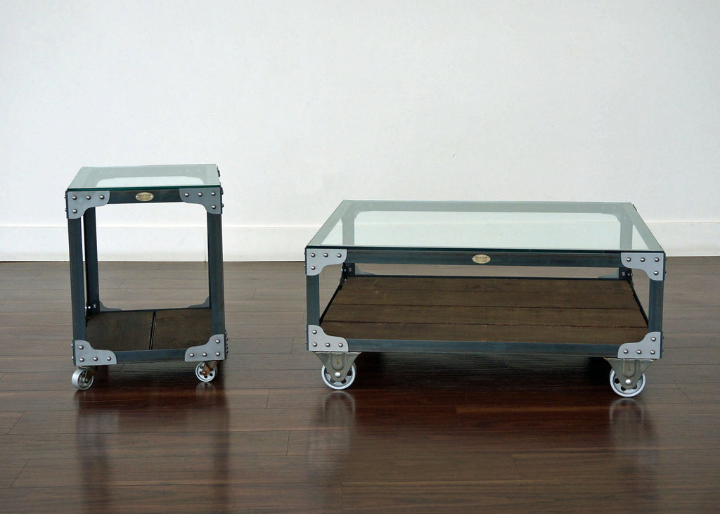 matching industrial coffee table and end table