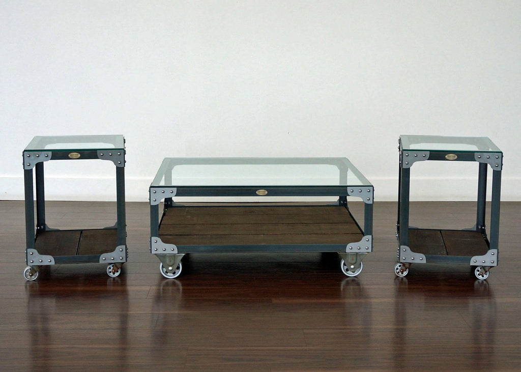 Matching Industrial Furniture Coffee Table And Two End Tables