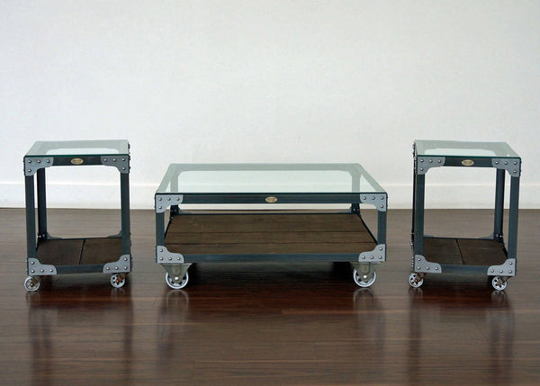 Matching coffee table and end table set