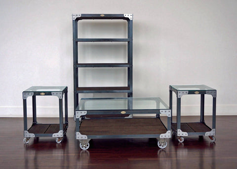 matching industrial bookcase coffee table and end table set