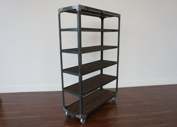 best steel and wood retail fixture shelf on wheels Toronto