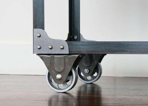 artisan steel and wood industrial shelf on wheels