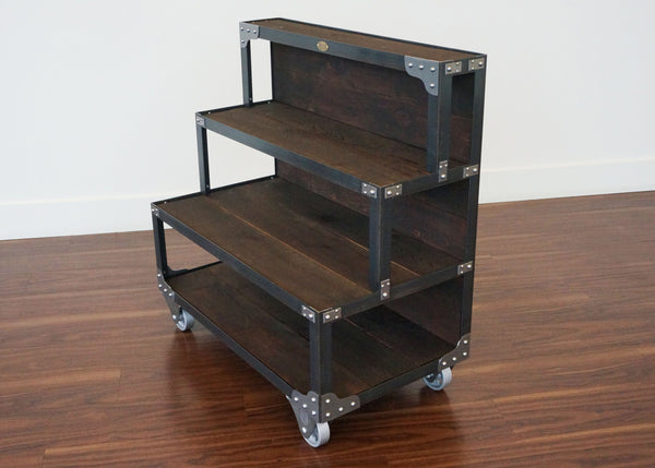 best metal and wood retail end cap fixture display shelf on wheels USA