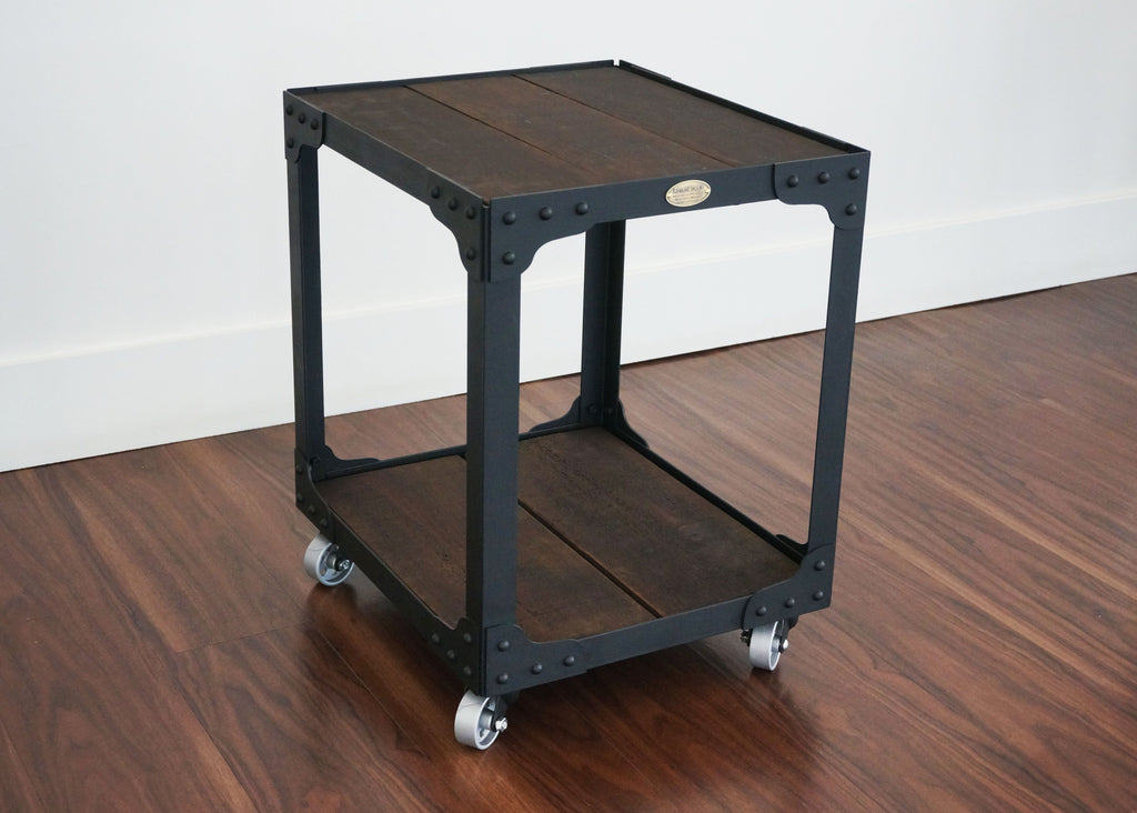best handmade wood top industrial end table online
