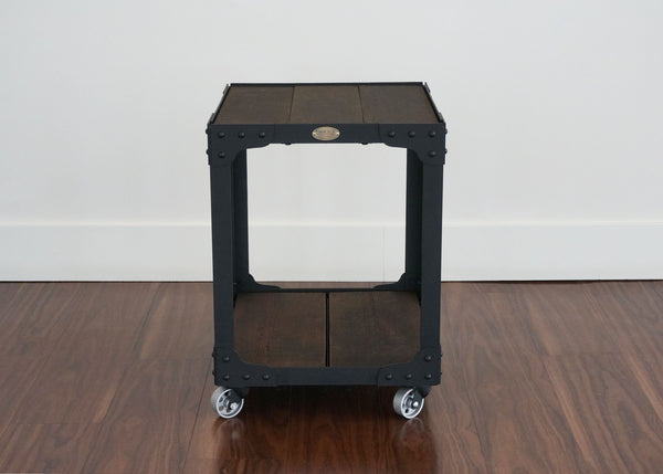 locally handcrafted metal and wood end table on wheels
