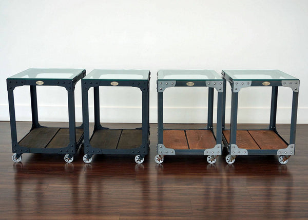 metal and wood end table set on wheels