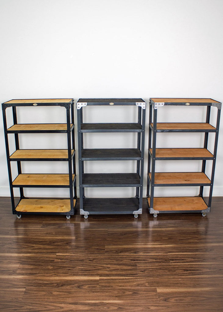 industrial bookcase on wheels