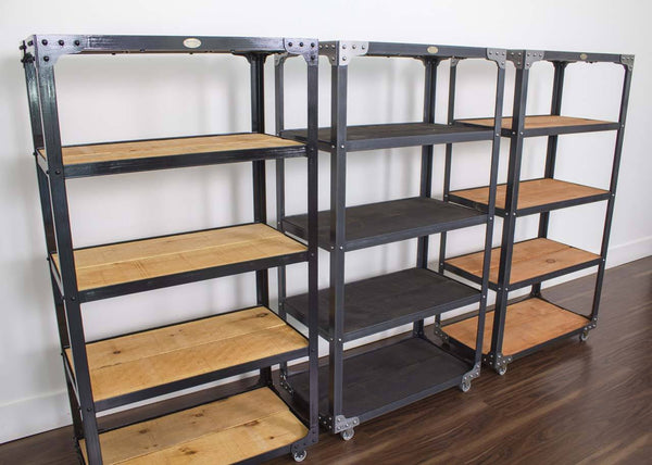 Metal and wood industrial bookcase on casters
