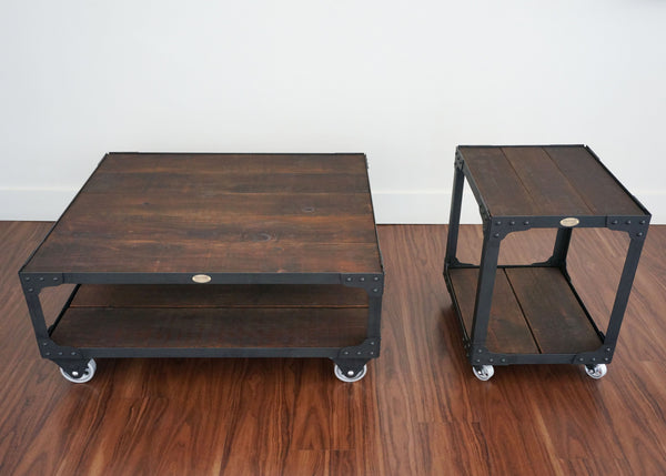 Matching Industrial Furniture - Wood Top Coffee Table and End Table Set