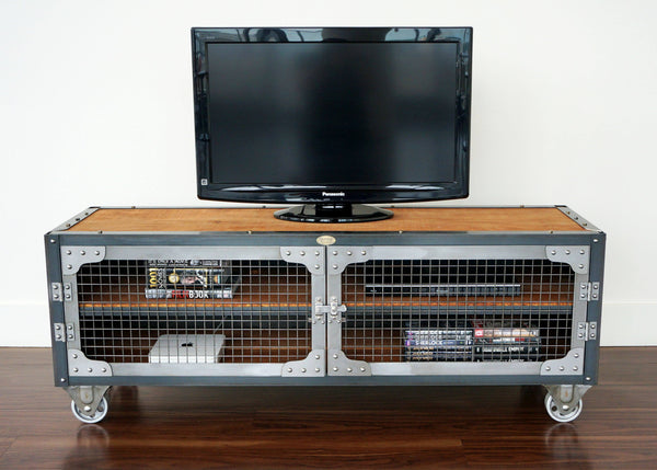 best handmade industrial tv stand for condo, loft, office or cottage