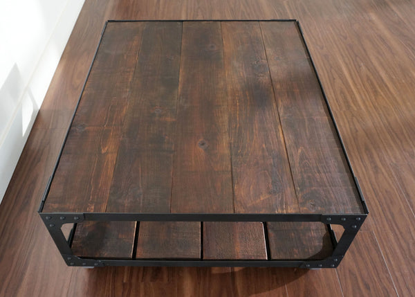 artisanal wood top coffee table on wheels Toronto Ontario online