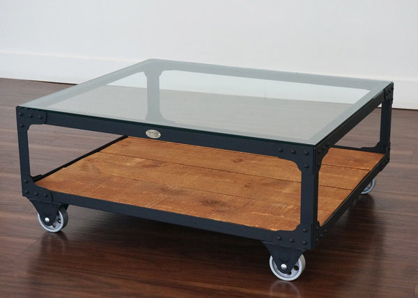 Your Custom Color - Industrial Glass Top Coffee Table