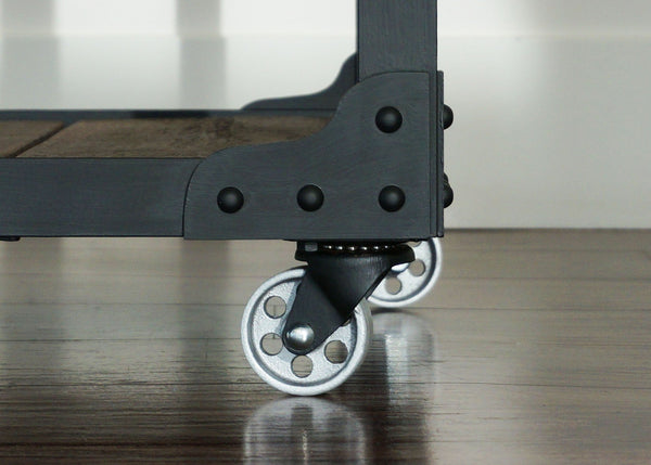 coolest industrial end table on wheels