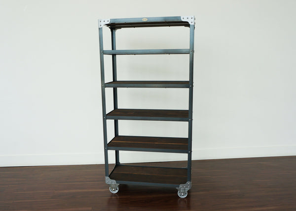 handmade industrial steel and wood display on wheels for retail hospitality office and dispensary